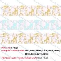 golden marble printed grosgrain ribbon elastic fold over ribbon diy accessories handmade garment wedding gift wrap 50 yards