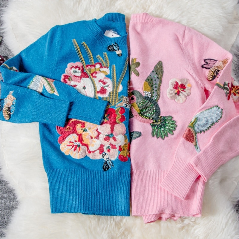 2018 Women Sweater Fashion O-neck Pullover Real Limited Spring Heavy Staple Neck Diamond Embroidery Round Collar Knitted Rabbit enlarge
