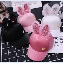 Doitbest Korea Children Hip Hop Baseball Cap Summer Sequined rabbit ears Sun Hat Cartoon Boys Girls snapback Caps