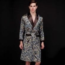 Top Grade chinois hommes soie peignoir de nuit Yukata caftan Robe Robe avec ceinture L XL XXL 16040902