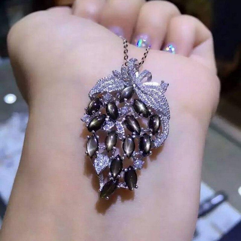 Fidelity natural star sapphire s925 sterling silver colgantes personalidad fina joyería para mujeres fiesta natural negro piedra preciosa