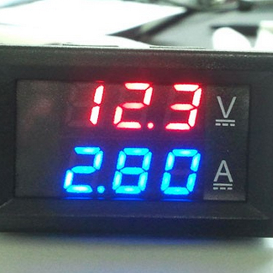 "Mini Digital voltímetro amperímetro DC 100V 10A Panel Amp voltios medidor de corriente de voltaje de 0,56 ""Azul Rojo de doble LED pantalla"