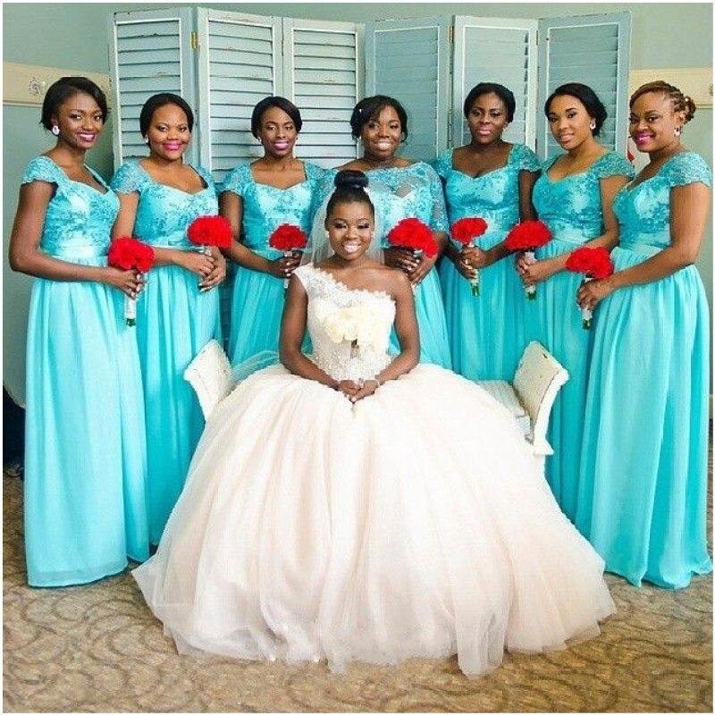 Долго Невесты Платье A Line Милая Аппликация Шифон Пром Платья Длиной До Пола