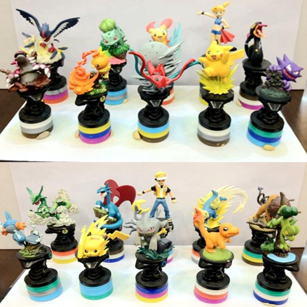 1 pçs pet 3d peças de xadrez pikachu charmander charizard blastoise articuno moltres coleção figuras de ação pvc modelo brinquedo do miúdo