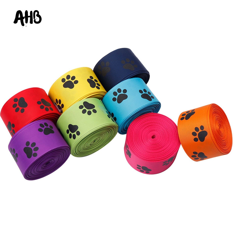 Ahb 2Y/Lot Grosgrain Lint 38 Mm Leuke Hond Poot Gedrukt Lint Diy Strikken Geschenken Wikkelen Festival Decor Materialen handgemaakte Supply