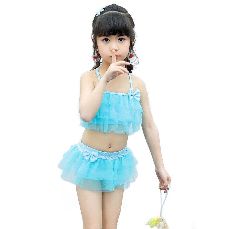 2018 Children's Split Swimsuit Cute Simple Solid Color Wave Girl Small Children's Swimwear Skirt Swimwear Wholesale G42-K561