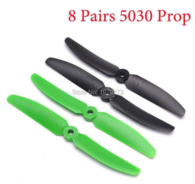 8 pares 16 pçs 5x3 5030 hélice em miniatura adereços qav250 miniquad quadcopter preto verde