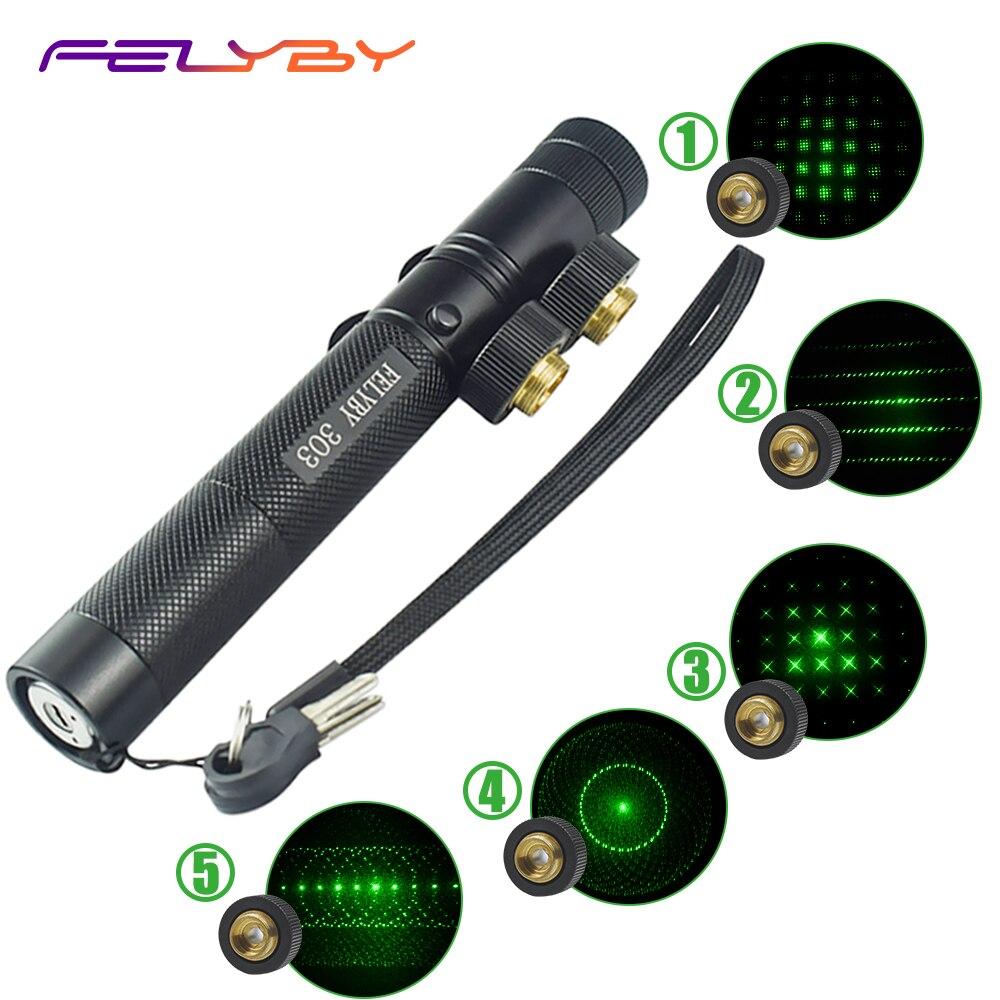 Felyby 303 laser ponteiro caneta 532nm vista verde laser para o escritório/ensino/reunião ponteiro laser com bateria recarregável 18650