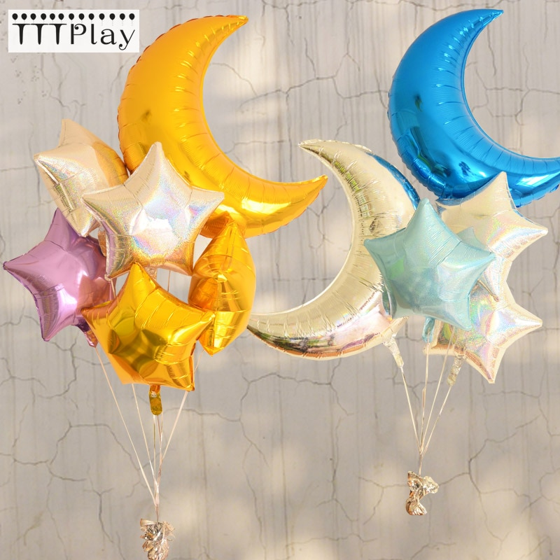 1Pcs 36inch 18inch Moon Star Large Air Balloons Birthday Party Helium Balloon Decorations Wedding Festival Ballon Party Supplies