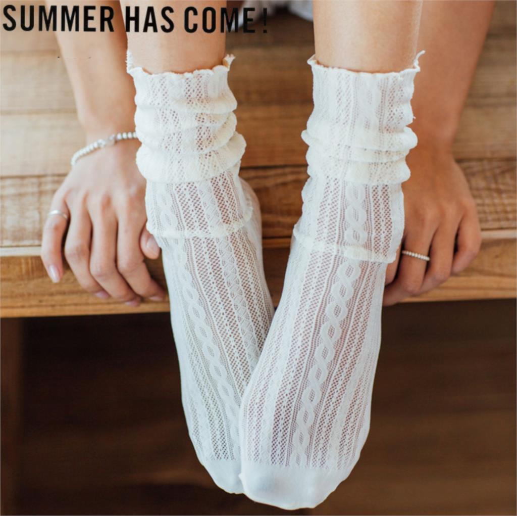 Женские носки, 1 пара, весенние, новые, модные, летние, однотонные, с отверстиями, мягкие, милые, длинные носки для женщин, тонкие сетчатые носки|Носки|   | АлиЭкспресс