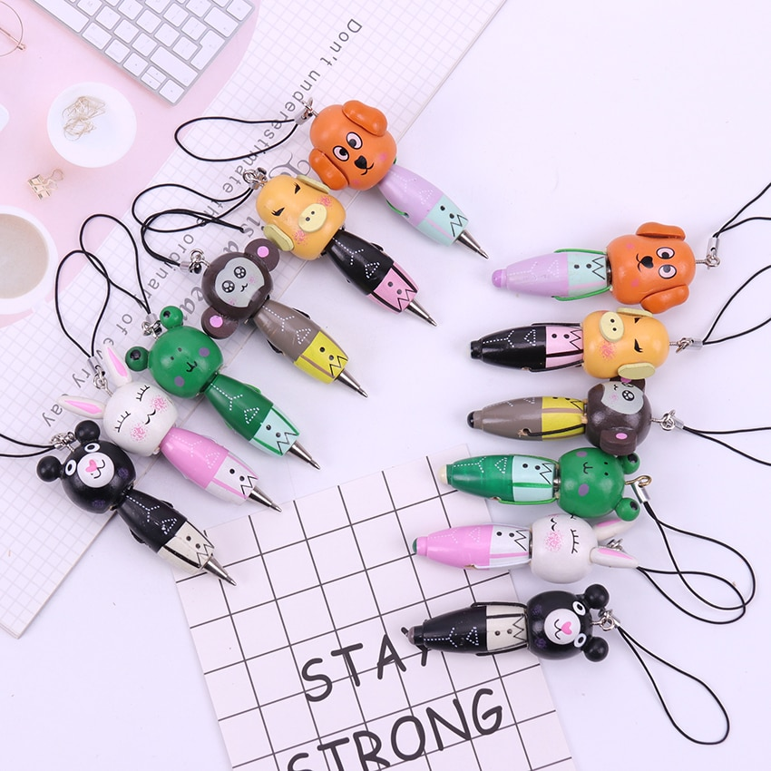 Bolígrafo creativo de animales de dibujos animados de madera Kawaii con papelería de regalo coreana para niños 1 pieza
