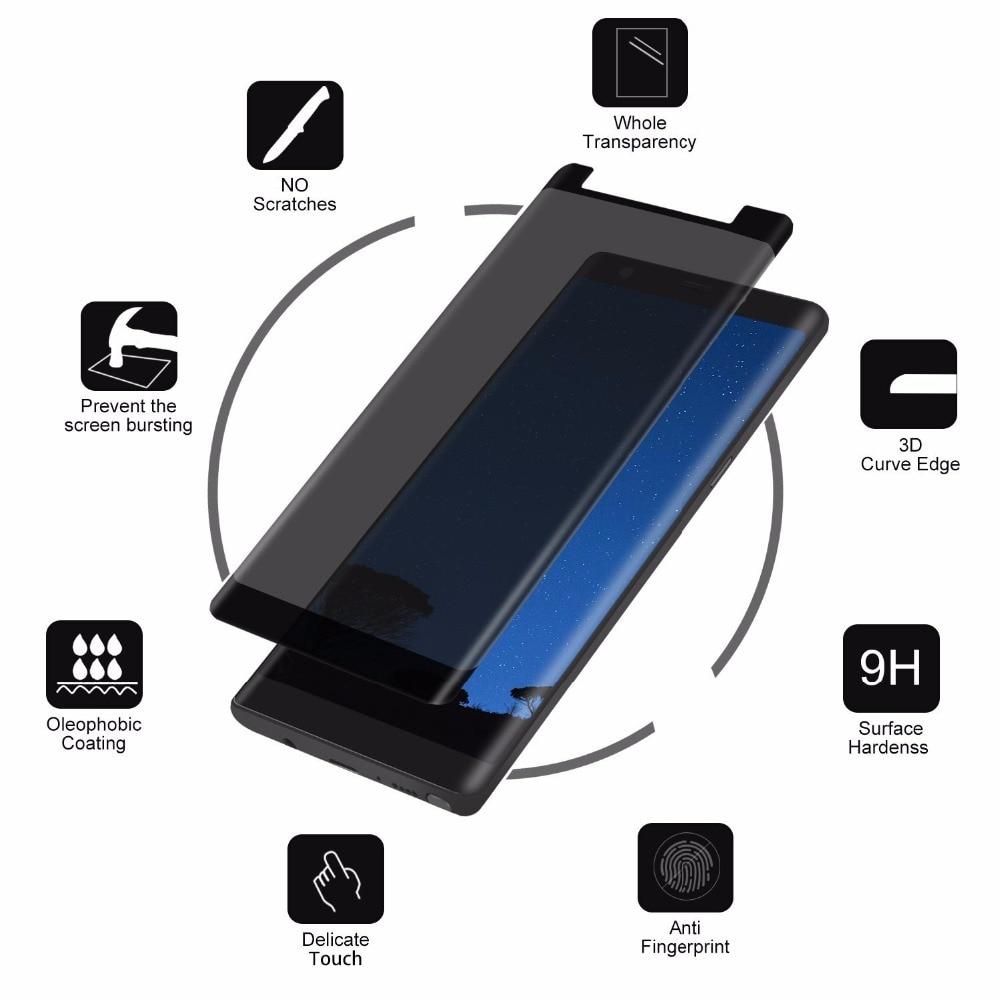 3D curvo de vidrio templado para Samsung Galaxy S8 S9 más antiprivacidad Protector de pantalla para Galaxy Note8 de vidrio funda de film para