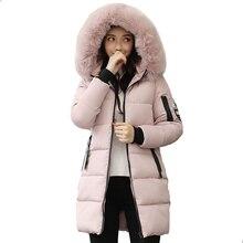 2019 à capuche grande taille 3XL longue femmes veste dhiver avec col en fourrure chaud épais parka coton rembourré femme mode femmes manteau