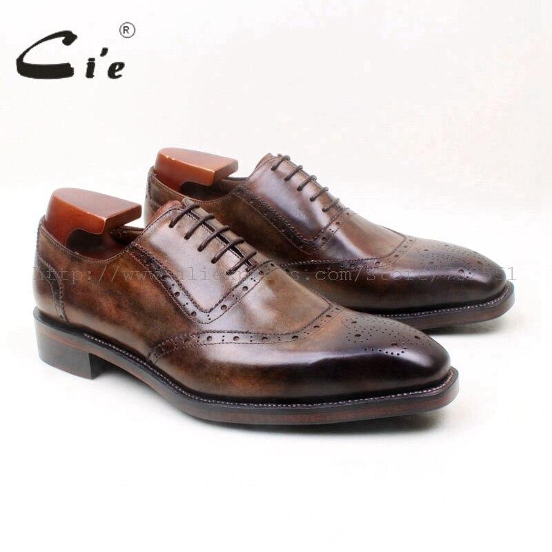 Мужские туфли-броги ручной работы cie, коричневые туфли из телячьей кожи с натуральным лицевым покрытием, Классические оксфорды на шнуровке, No.OX669