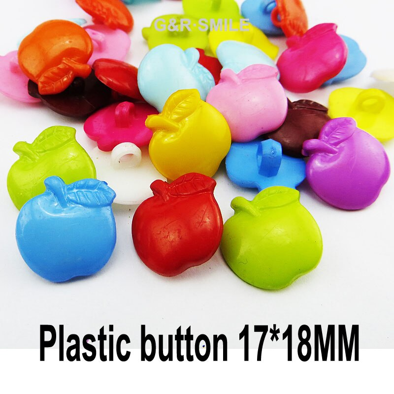 50PCS fruit APPLE button Dyed Plastic  flowers buttons coat boots sewing clothes accessories P-003T