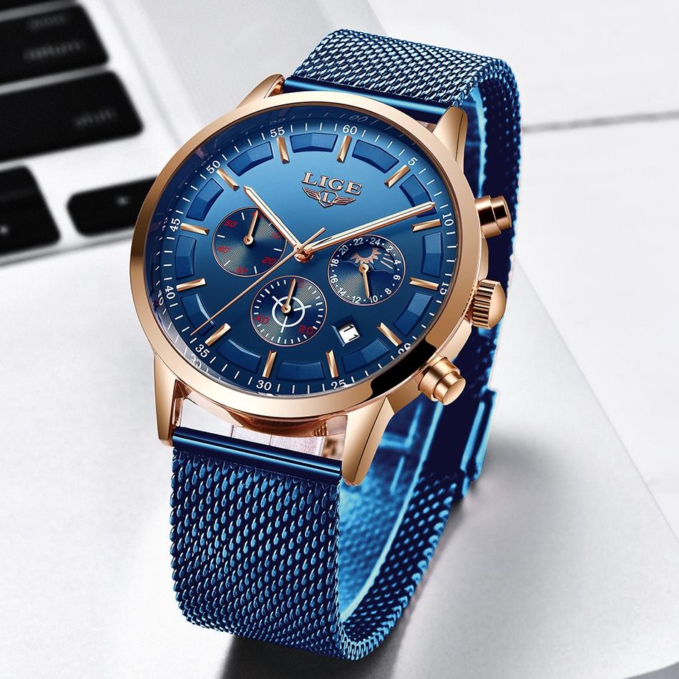 LIGE 2019 Brand Men Chronograph Gift Stainless Steel Watches Mens Waterproof Quartz Sport Watch Luxury Casual Business Watch Hot