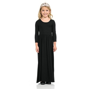 Spring Autumn Fashion Green Blue Black Clothes Rayon Silk Girls Long Dress Trend Girls Beach Maxi Kids Party Princess Dresses