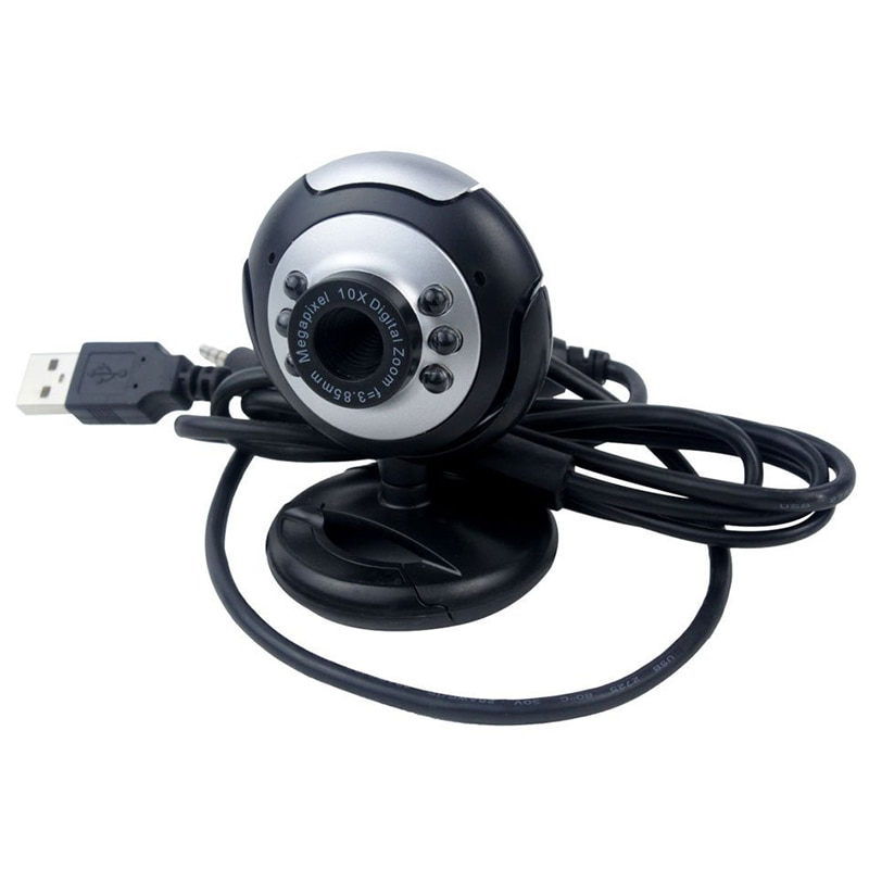 USB 6 LED cámara de visión nocturna PC Webcam Reseau avec micrófono pour MSN ICQ objetivo reunión Skype neto