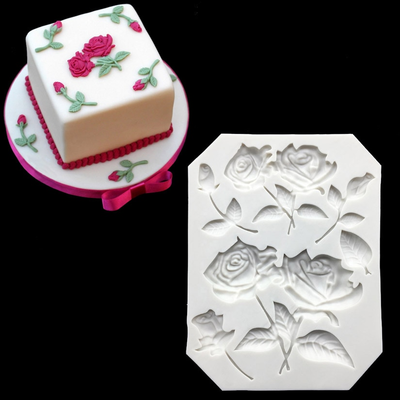 3D silicona Rosa formas Fondant pastel caramelo gelatina silicona decoración molde herramientas