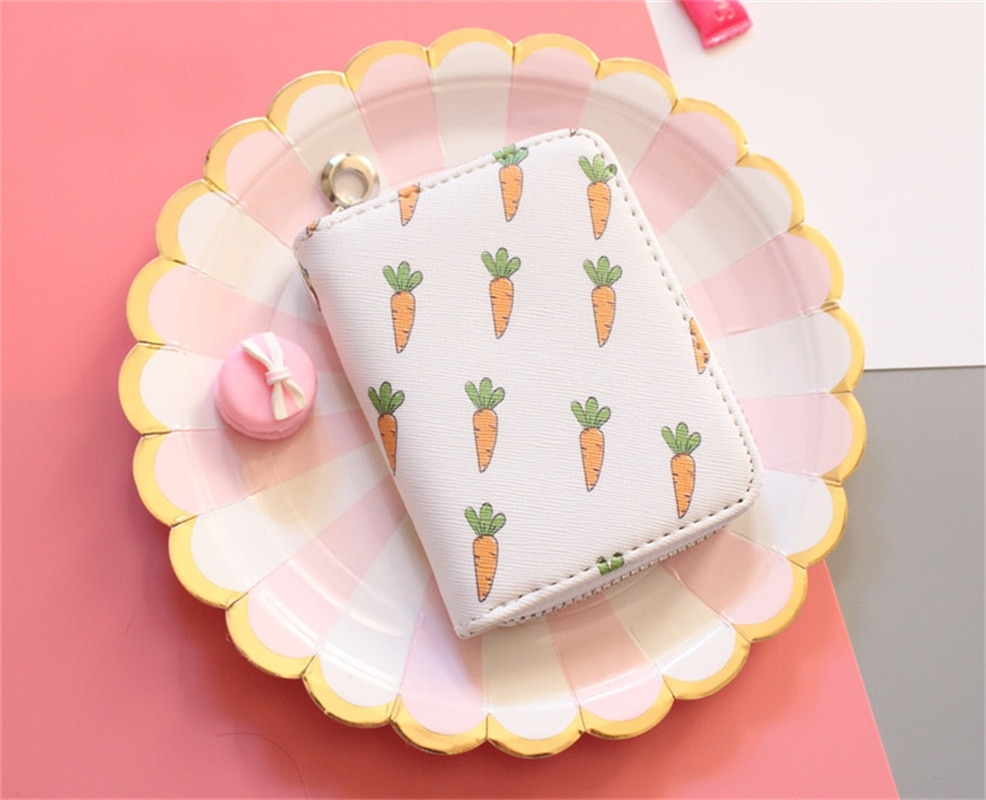 Cartera Mcneely de piel sintética con zanahoria y tarjetero para mujer, monedero corto de lujo con cremallera, billetera informal mini estándar