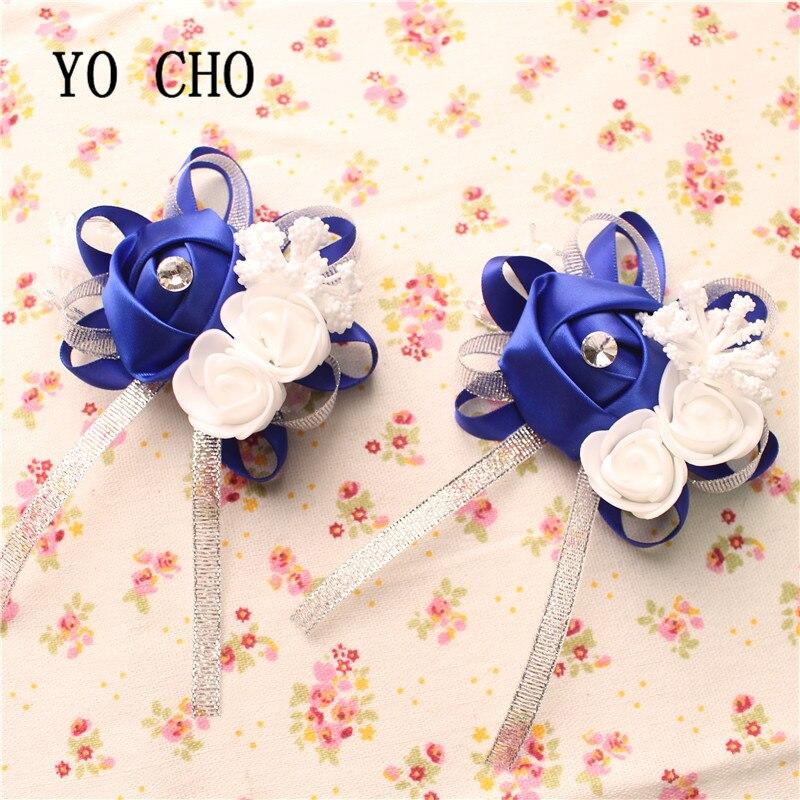 Flor de muñeca Artificial creativa DIY de YO CHO, dama de honor, hermanas, flores para mano, flores para novia, decoración de boda Azul Real
