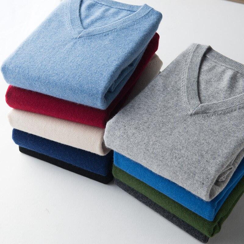 Pullover Mit V-ausschnitt Pullover männer 2020 herbst winter kaschmir baumwolle mischung warme jumper kleidung pull homme hiver mann hombres pullover