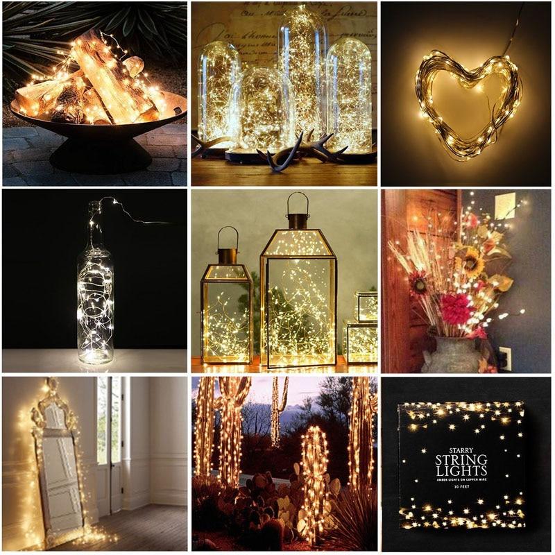 LED húr fény ezüst huzal meleg fehér koszorú otthoni karácsonyi - Üdülési világítás - Fénykép 4