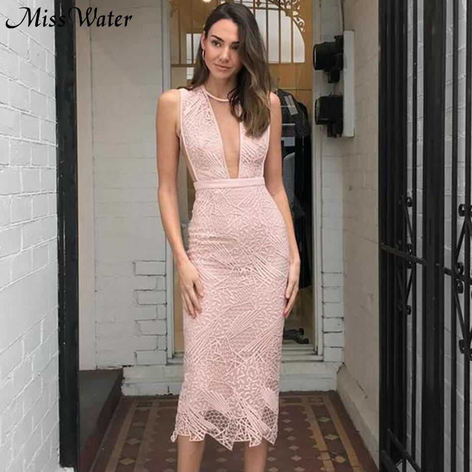 Vestido Sexy de encaje para mujer con cuello redondo sin mangas rosa para fiesta de celebridades de Miss agua