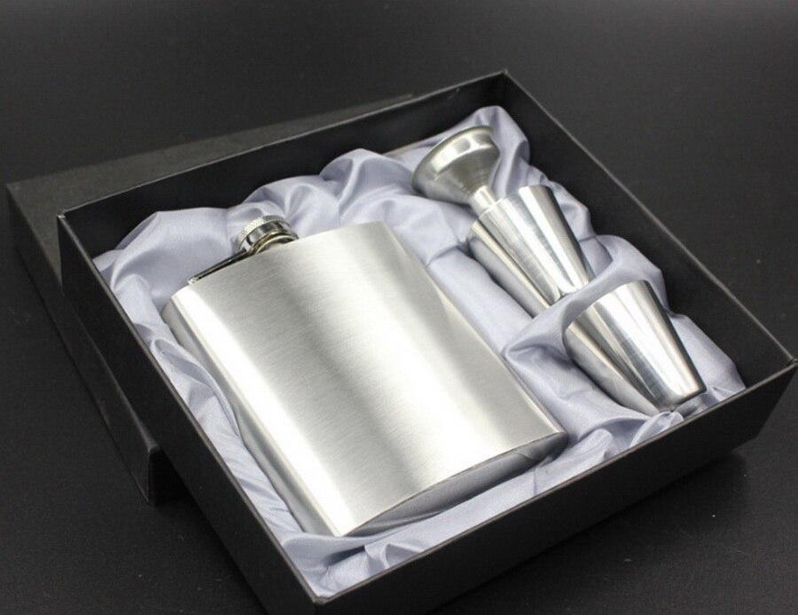 Por dhl 20set 7oz de lujo de acero inoxidable Petaca personalizada whisky Petaca bebida taza con una caja