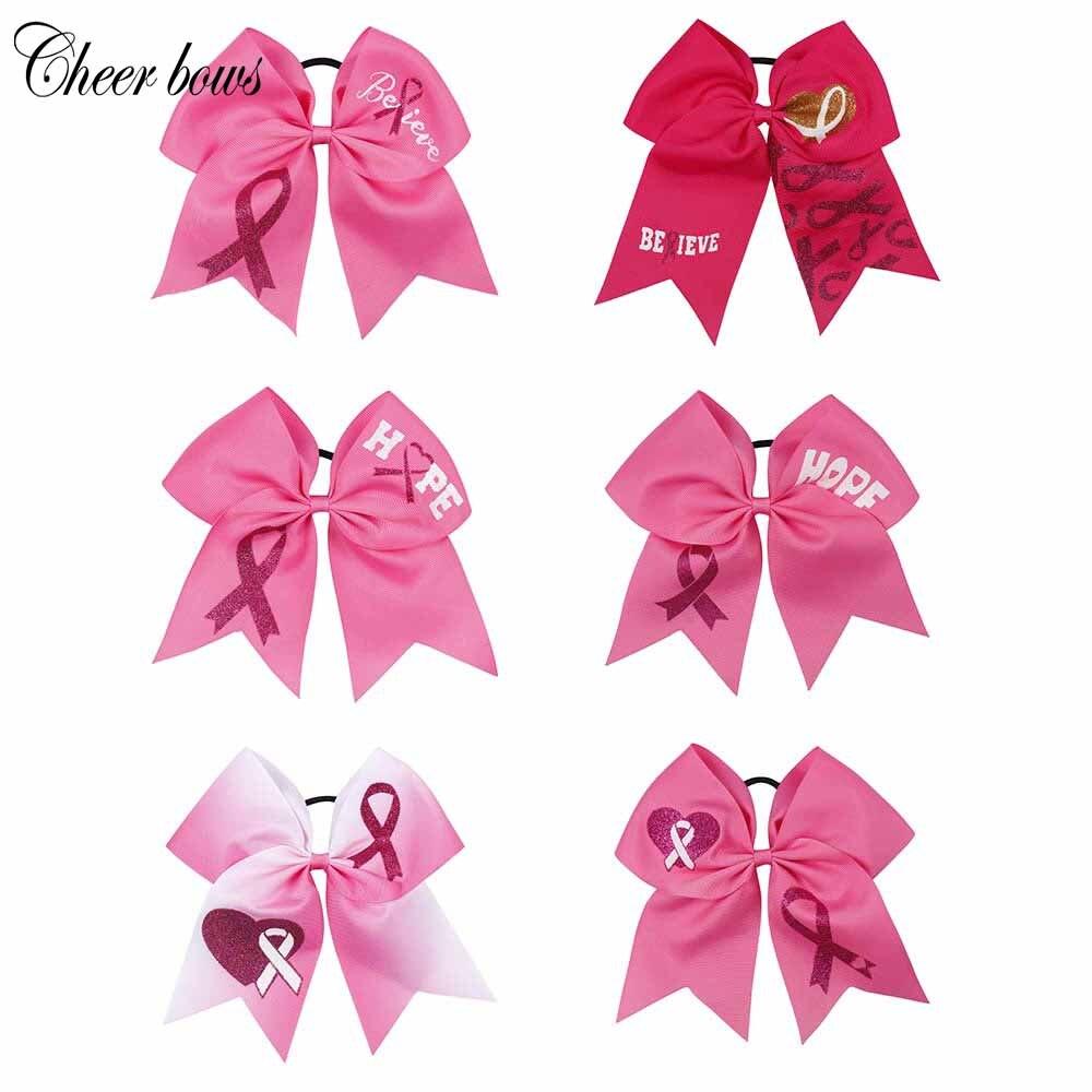 7 Breast Cancer Elogio Bow Com Cordas Elásticas de Cabelo Impresso Glitter Esperança Logo Arcos de Cabelo Para Meninas Crianças Headwear acessórios Para o cabelo