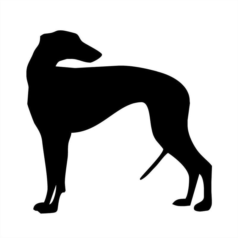 Vinilo perro decoración Greyhound de 13x13CM pegatina de coche accesorios clásicos de coche de dibujos animados de animales negro/plata C6-1352
