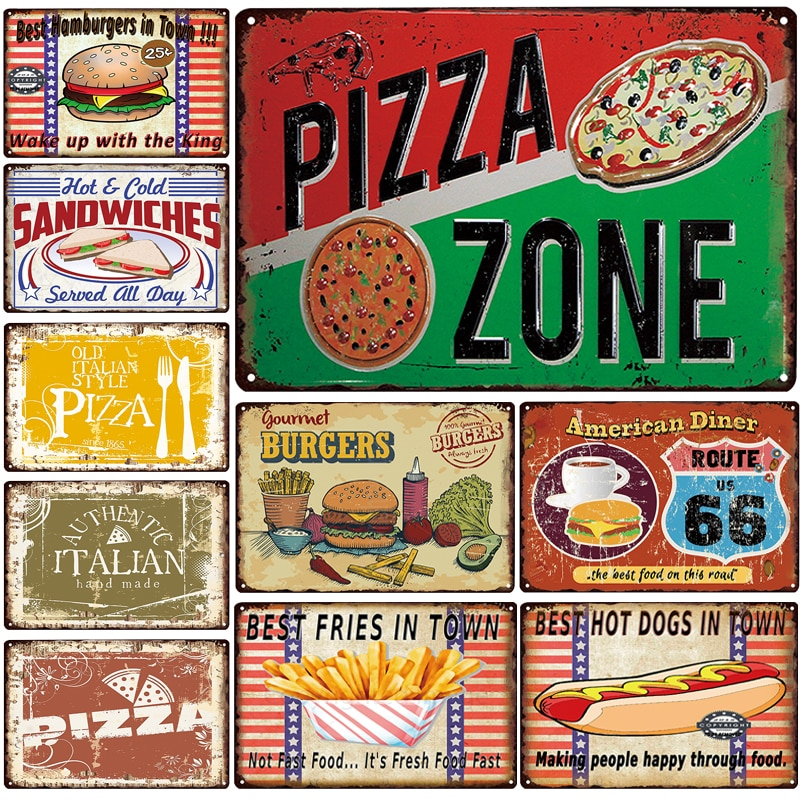 Placa de zona de Pizza Metal Vintage hamburguesas señal de Metal Hot Dog Tin Sign decoración Metal cartel hogar Bar Pub Vintage pared carteles
