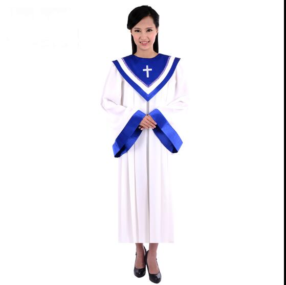 Coro da igreja cristã vestido Mulher roupas manga Comprida Manto Sagrado Cantando