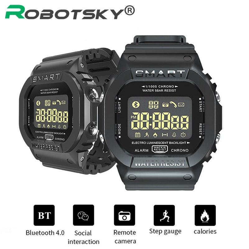 Robotsky ex16t 5atm relógio inteligente à prova d18 água 18 meses de espera bluetooth smartwatch esportes controle remoto pedômetro relógios