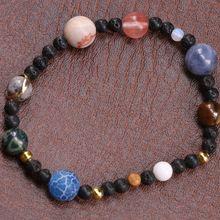 2019 nouveau fait à la main fabuleux extensible élastique corde chaîne perlé Bracelet unisexe cadeau univers neuf planètes système solaire Bracelet