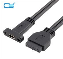 Rear Panel with USB 3.1 Type C Port, USB 3.0 USB3.0 20 Pin 20P female to USB-C USB3.1 type-c Female host PCI baffle Cable 50cm
