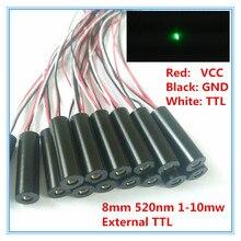 Contrôle TTL externe 8mm 1 mW 5 mW 10 mW 520nm Module de Diode Laser à point vert de qualité industrielle