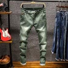 7 couleur kaki gris noir classique mode nouvelle marque affaires jeans décontractés hommes pantalon en denim maigre Stretch mince coton homme jean
