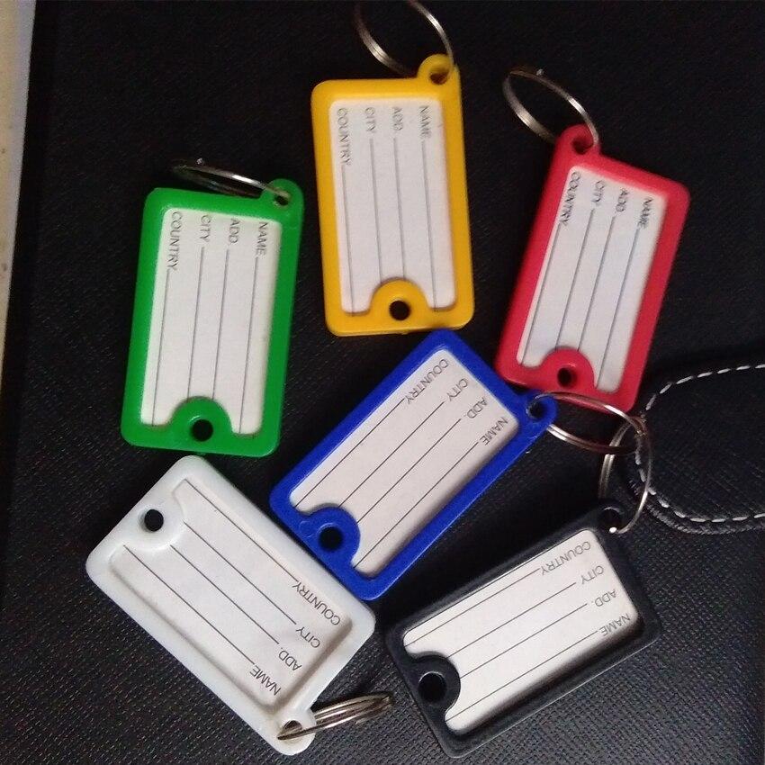 100 шт./лот, Новое поступление, прямоугольная карточка для ключей, кристальная пластиковая идентификация для ключей, этикетки, разделенное ко...