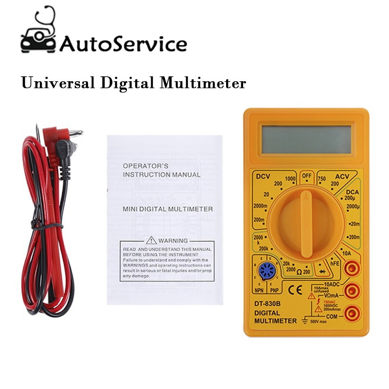 Portable Mini Digital Multimeter Tester AVO Meter AC DC Ohm Voltmeter Ammeter Professional LCD Test Leads LCD Digital Multimeter