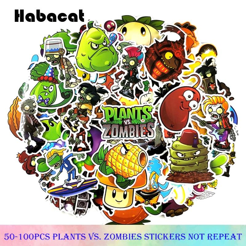 50-100 unidades/Paquete de Pegatinas de plantas vs. Zombies, Pegatinas de grafiti de dibujos animados para motocicleta, Notebook, equipaje, portátil, bicicleta, monopatín