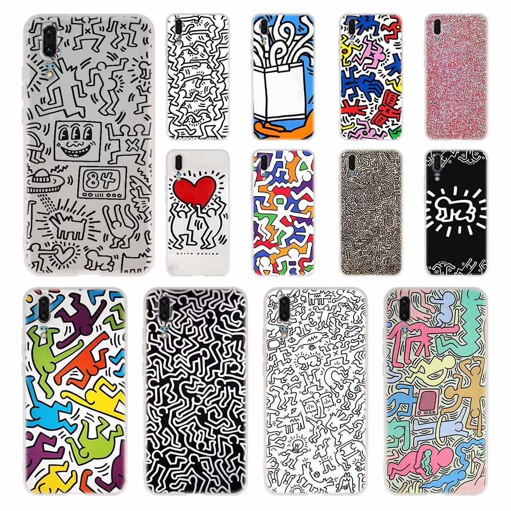 Funda de teléfono Keith Haring art para Huawei P40, P9, P10, P20, P30 Lite, funda blanda para Smart 2019 Pro P