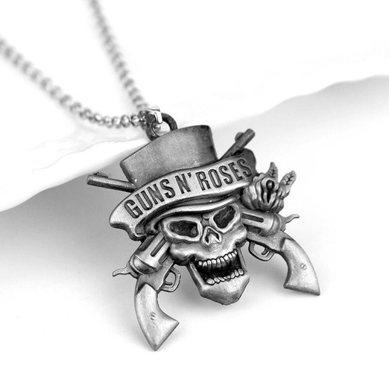 Rock Music Band Guns N 'Roses calavera muerte colgantes con logo collares Collar para mujer hombre serie musical joyería