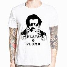 Narcos Pablo Escobar t shirt streetwear argent drogue TV colombie netflix cadeau marvel t shirt hommes chemise blanche camiseta masculina