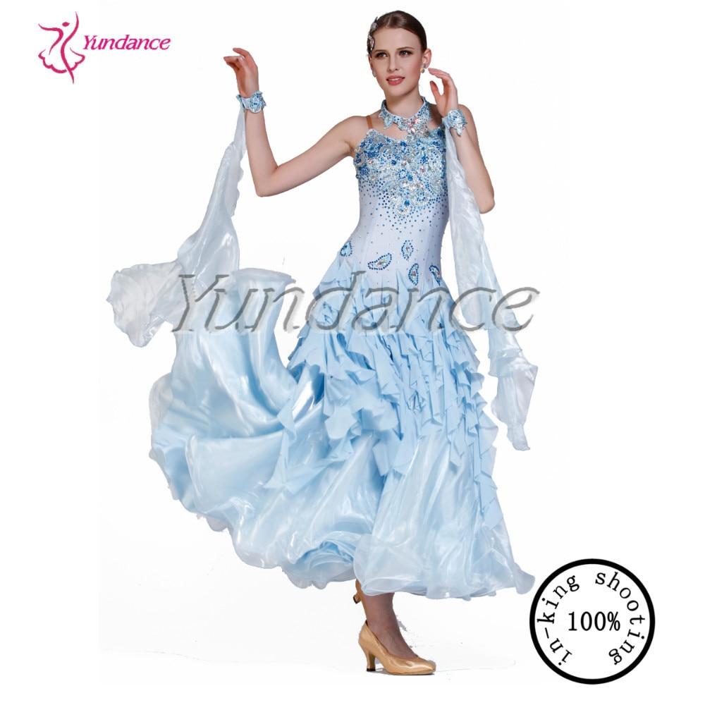 B-13207 2016 de venta al por menor luz azul largo vestido de baile de salón para mujer fabricante de China