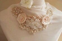 Appliques de perles de perles   Col en dentelle à fleurs 3D, accessoires de décoration pour robe de mariée à couture, bricolage
