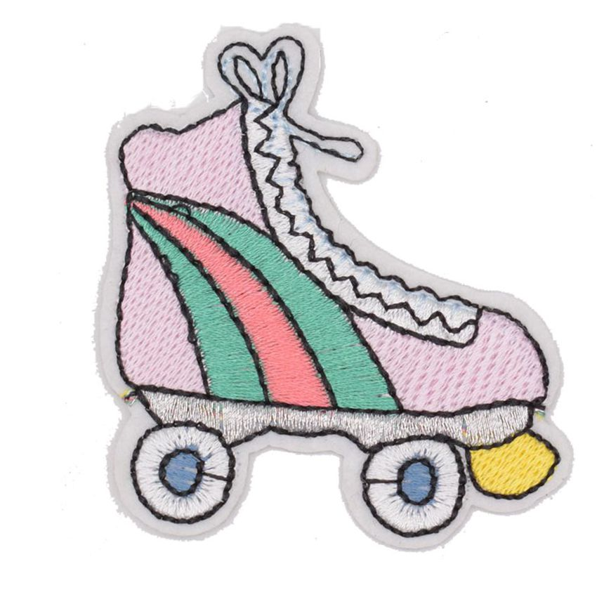 Pegatinas de 2018, Parche de patinaje en Arco Iris, rodillo de patinaje, zapato de patinaje para mujer, chaqueta de motorista, parches para camiseta plancha sobre insignia, letrero