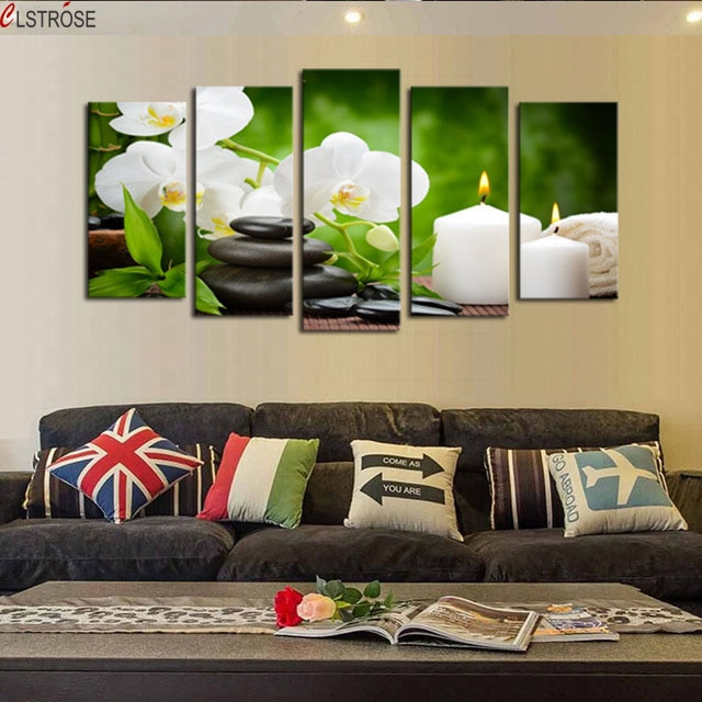 CLSTROSE Luxury Unframed 5 Pcs Stone Flower Candle Scenery Picture Print Painting Modern Canvas Wall Art Home Decor