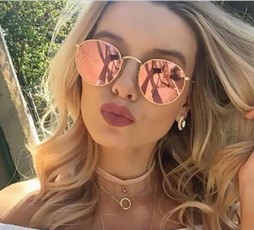 Brand Design Round Sunglasses Women Men Brand Designer Vintage Retro Mirror Sun Glasses For Women Female Ladies Sunglass