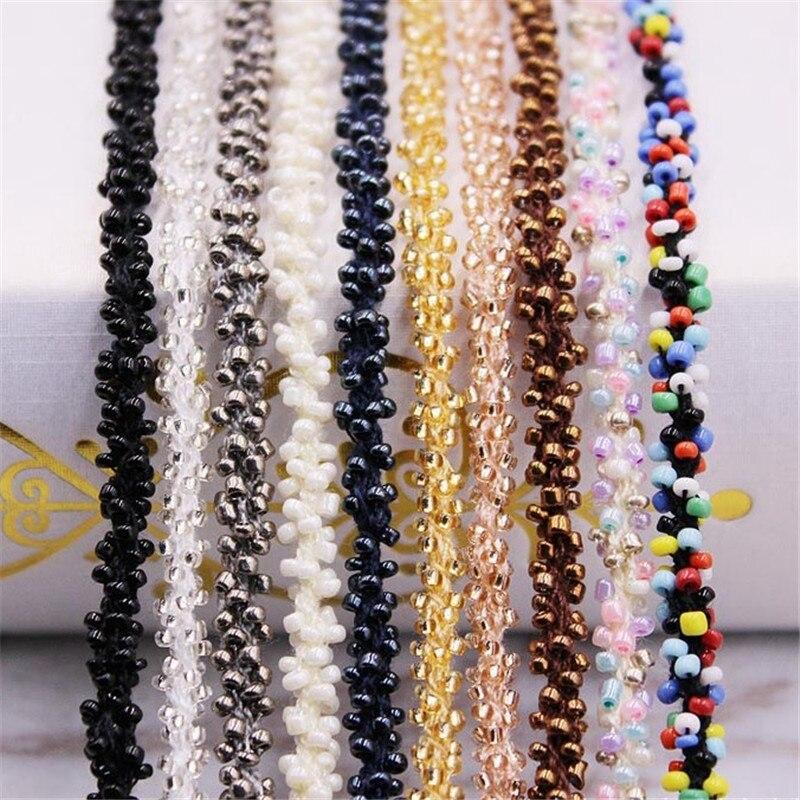 Bordure en dentelle perlée à la main 1Yards/Lot   Garniture pour robe de mariée, ceinture de ruban, Applique tissu couture, ruban en perles de verre